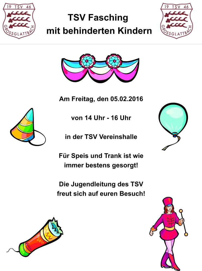 Einladung Zum Fasching Mit Behinderten Kindern Tsv Grossglattbach